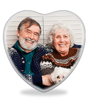 Heart shaped memorial photo plaque with no border